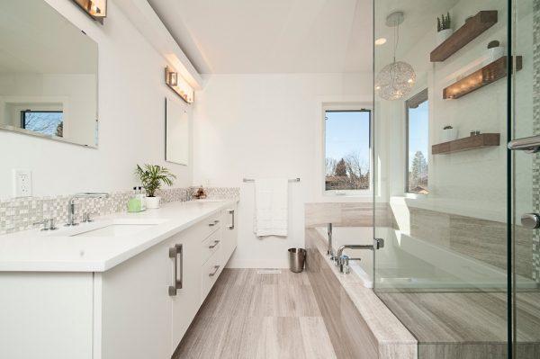 modern white bathroom in a Colorado home