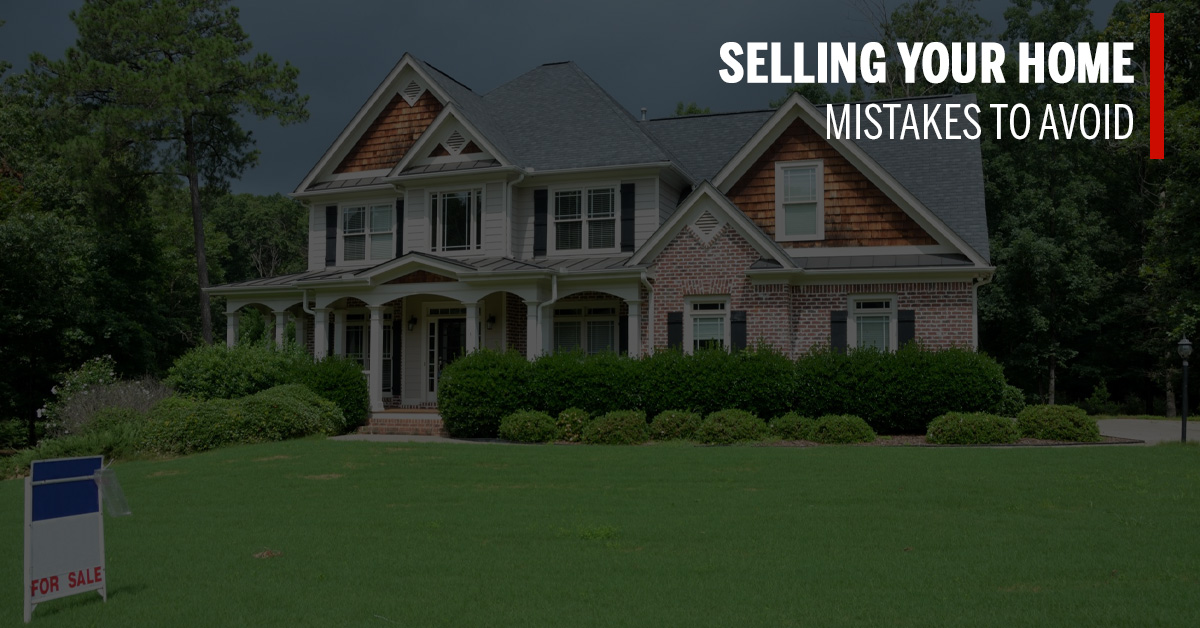 home for sale with text that says selling your home mistakes to avoid