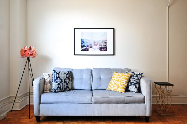 a clean, staged living room in a small home